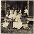 Camp Runoia Campers and Counselors on Cabin Steps, circa 1920
