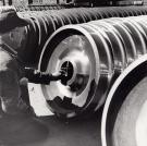 Checking a Railroad Car Wheel Replacement, Derby, 1965