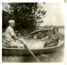 Canoe ride on Porter Lake, Strong, ca. 1940