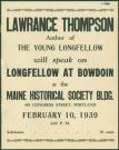Lawrance Thompson lecture announcement, Portland, 1939