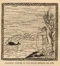 Glooskap looking at the whale smoking his pipe