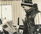 Reading the news at the Sugarloaf World Cup, 1971