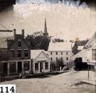 Water Street and Old Covered Bridge, Skowhegan, ca. 1866