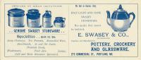 Swasey advertising blotter, Portland, ca. 1890