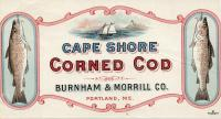 Cape Shore corned cod label, Portland, ca. 1920