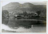 Thad White Bridge on the Webb River, Dixfield, ca. 1900.