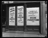 Hub Furniture Company storefront, Portland, 1935