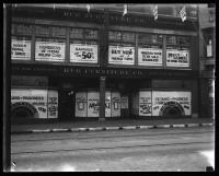 Window advertising on Hub Furniture Company storefront, Portland, 1935