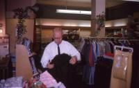 Raymond Howard in Howard's Drygoods Store, Dixfield, 1965