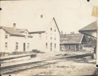 Norcross House, log camp, railroad station, Norcross, ca. 1905