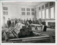 Carpenters in Lithgow book room, Augusta, ca. 1895