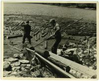 Guiding pulp onto loader, Westport Island, 1957