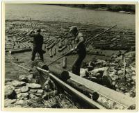 Guiding pulp onto loader, Westport Island, 1957