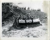 Edward Denny at causeway opening, Westport Island, 1950