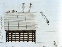 Alonzo E. Raynes diving off wharf, Hampden, ca. 1840