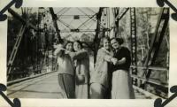 Women dancing on a bridge, Farmington, ca. 1925