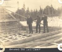 Building the log camp, Norcross, ca. 1900