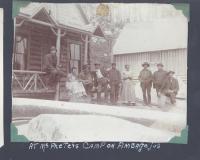 Group at Camp Wellington, Ambajejus Lake, ca. 1905