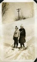 Normal School students snowshoeing, Farmington, ca. 1922