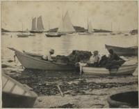Mending nets in the harbor, Monhegan, ca. 1890