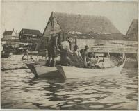 Mending seine nets, Monhegan, ca. 1880