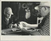 Fish house cribbage, Monhegan, ca. 1950