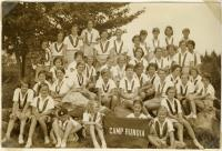 Campers at Camp Runoia, Belgrade Lakes, 1933