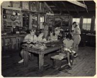 Camp Runoia craft shop, Belgrade Lake, 1951