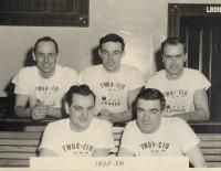 Union candlepin bowling men's league, Biddeford, ca. 1955