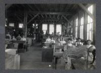 Workers seated in the David Cummings & Co. shoe factory, South Berwick, ca. 1900