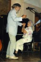Musicians share a laugh, Westport Island, 1987