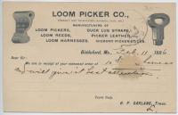 Loom Picker Company order, Biddeford, 1896