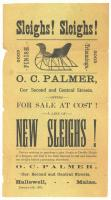 Sleigh advertisement, O.C. Palmer, Hallowell, 1882
