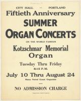 Summer organ concerts, Portland, 1962