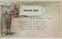Soldier-boy and US flag postcard, Biddeford, ca. 1917