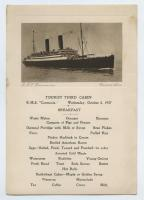 Breakfast menu on the R.M.S. Carmania, October, 1927