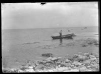 Moss gatherer in boat, Scituate, Massachusetts, ca. 1910