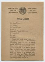 Potage Albert recipe, ca. 1917