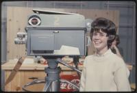 A Mechanic Falls High School student poses on the set of The Dave Astor Show, Portland, 1962