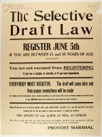 Selective Service Draft Law registration poster, 1917