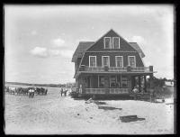 Hall house beach move, Pine Point, 1924