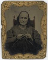 Tintype of woman knitting, ca. 1870