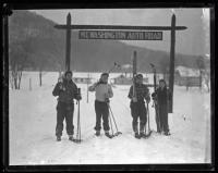 Four skiers on the Mt. Washington Auto Road, New Hampshire, 1936