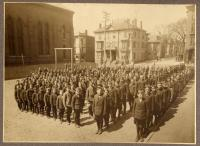 Boys lined up at North School, ca. 1910
