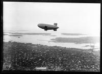 Mobil Oil blimp above Portland, ca. 1930