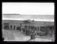 "Frances Grayson's seaplane ""Dawn"" lands on Old Orchard Beach, 1927"