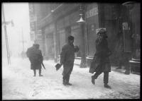 Blizzard in Monument Square, Portland, 1920