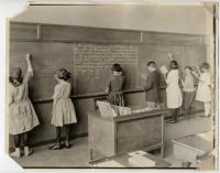 Writing on the board, North School, Portland, ca. 1915