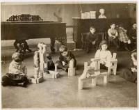 Students and blocks, North School, Portland, ca. 1910
