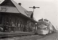 Bangor and Aroostook passenger train, Oakfield, ca. 1950